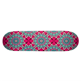 Pink and turquoise floral mandala pattern skateboard