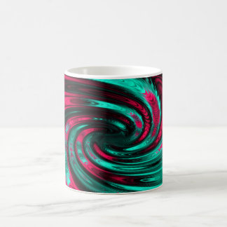 Pink and turquoise fractal pattern Coffee mug