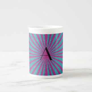 Pink and turquoise glitter monogram porcelain mugs