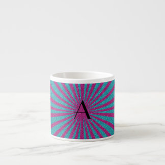 Pink and turquoise glitter monogram espresso cups