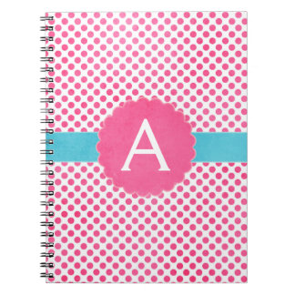 Pink and Turquoise Monogram Polka Dot Notebook