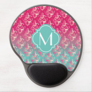 Pink and Turquoise Ombré Damask with Monogram Gel Mouse Pad