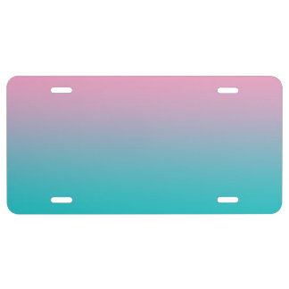 """""""Pink And Turquoise Ombre"""" License Plate"""