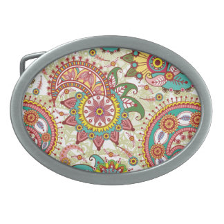 Pink and turquoise paisley oval belt buckle
