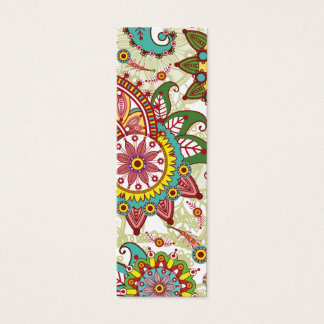 Pink and turquoise paisley mini business card