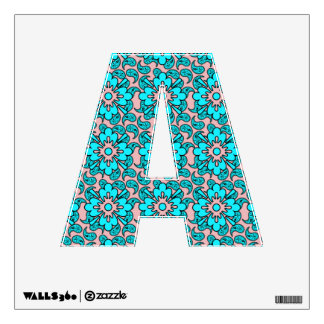 Pink And Turquoise Paisley Pattern   Letter A Wall Decal