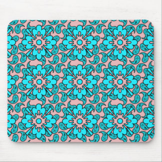Pink And Turquoise Paisley Pattern  Mousepad