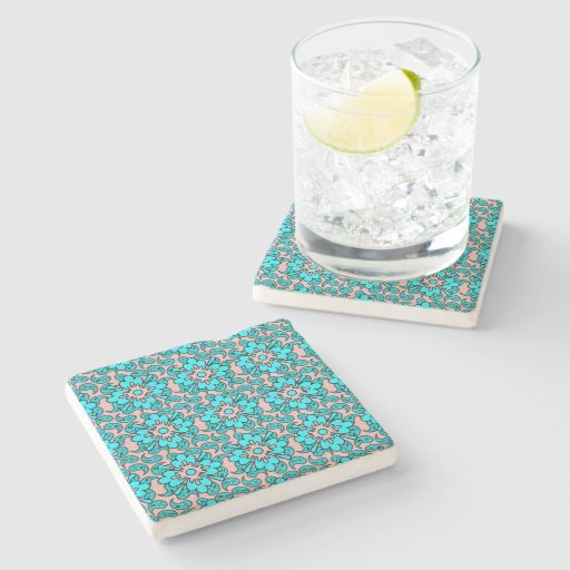 Pink And Turquoise Paisley Pattern Stone Coasters Stone ...