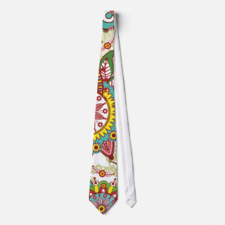 Pink and turquoise paisley tie