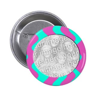 pink and turquoise photo frame 2 inch round button