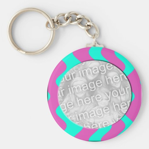 pink and turquoise photo frame keychains