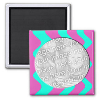 pink and turquoise photo frame 2 inch square magnet