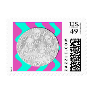pink and turquoise photo frame postage stamp