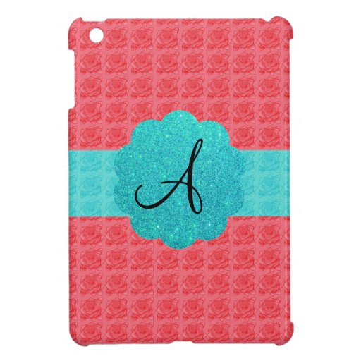 Pink and turquoise roses monogram iPad mini cover