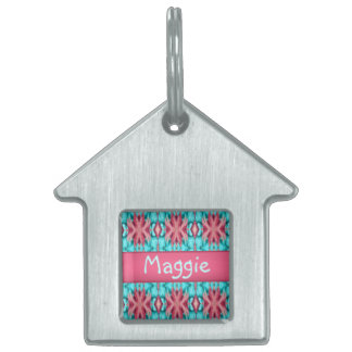 Pink and Turquoise Starfish Pattern Dog Tag Pet Tag