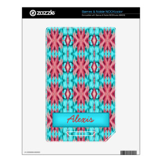 Pink and Turquoise Starfish Pattern Skins For NOOK Color