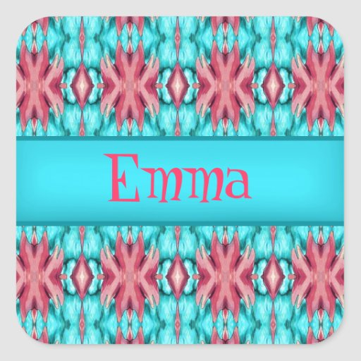 Pink and Turquoise Starfish Pattern Square Sticker