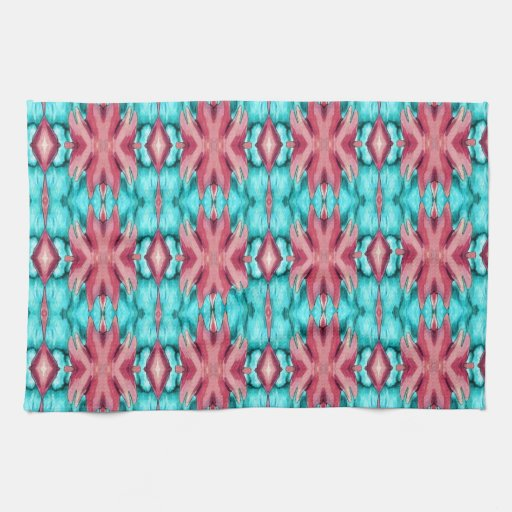 Pink and Turquoise Starfish Pattern Towels