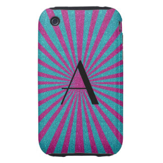 Pink and turquoise sunburst monogram iPhone 3 tough case