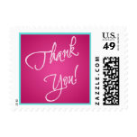 Pink and Turquoise Thank You Stamp