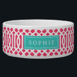 """Pink and Turquoise Trellis Monogram Bowl<br><div class=""""desc"""">Cute customized cat or dog food bowl with a pink imperial trellis pattern and rectangle frame placeholder for your beloved pet&#39;s name.</div>"""