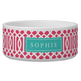 Pink and Turquoise Trellis Monogram Bowl