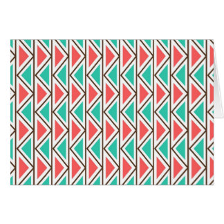 Pink and Turquoise Triangle Aztec Tribal Pattern Card