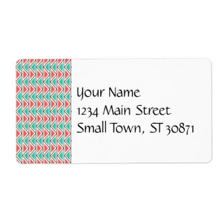 Pink and Turquoise Triangle Aztec Tribal Pattern Label