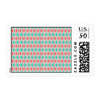 Pink and Turquoise Triangle Aztec Tribal Pattern Postage
