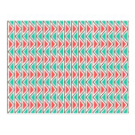 Pink and Turquoise Triangle Aztec Tribal Pattern Post Cards