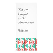 Pink and Turquoise Triangle Aztec Tribal Pattern Rack Card