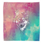 Pink And Turquoise Watercolor Artistic Wolf Bandana
