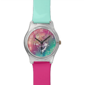 Pink And Turquoise Watercolor Artistic Wolf Wrist Watch