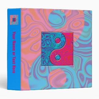 Pink and Turquoise Yin Yang Symbol Binder