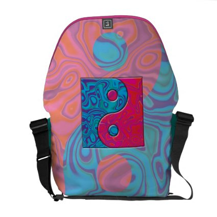 Pink and Turquoise Yin Yang Symbol Messenger Bags
