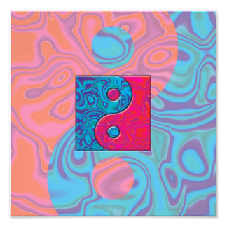 Pink and Turquoise Yin Yang Symbol Photo Print