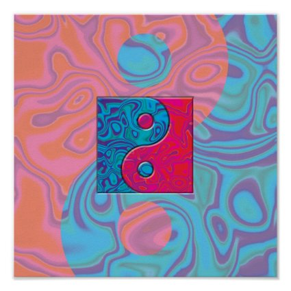 Pink and Turquoise Yin Yang Symbol Poster