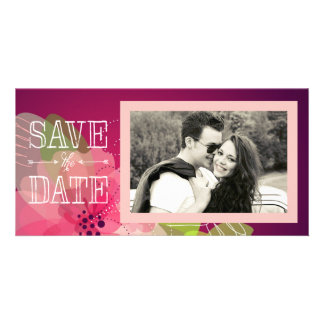 Pink and Violet Floral Save the Date Card