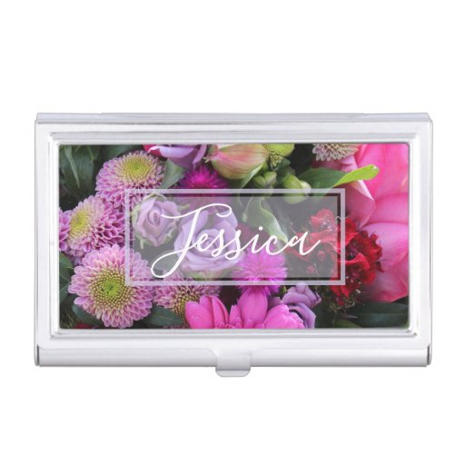 Pink and Violet Flowers Personalised Business Card Business Card Case