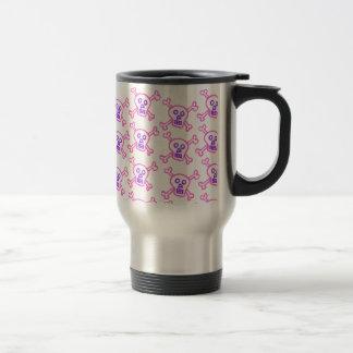 Pink and Violet Skull and Crossbones - Travel Mug