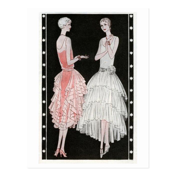 Pink And White 1920s Dresses Postcard Zazzle Com