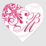 Pink and White Abstract Floral Envelope Seal Sticker