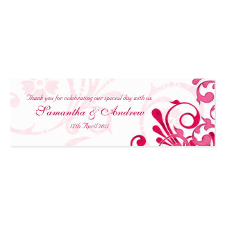 Pink and White Abstract Floral Favour Tags Double-Sided Mini Business Cards (Pack Of 20)