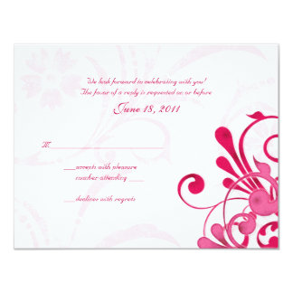 Pink and White Abstract Floral Response Card