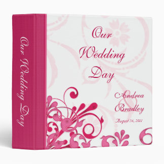 Pink and White Abstract Floral Wedding Binder