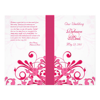 Pink and White Abstract Floral Wedding Program