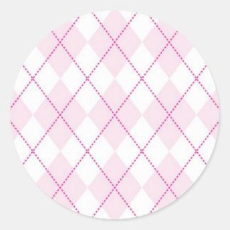 Pink and White Argyle Pattern Classic Round Sticker