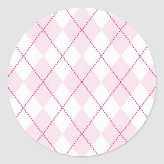 Pink and White Argyle Pattern Classic Round Sticker