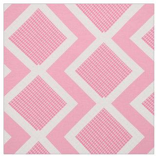 Pink and White Argyle Print Chevron Fabric