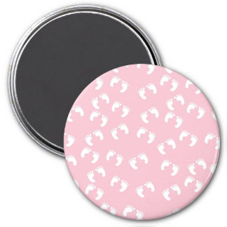 Pink and White Baby Feet - Baby Shower Print 3 Inch Round Magnet